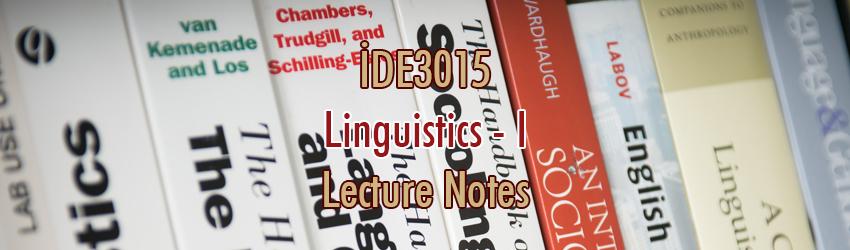 İDE3015 – Dilbilim – I Ders Notları